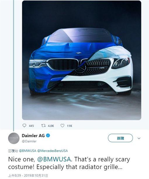 ▲BMW拿賓士開萬聖節玩笑,賓士回應(圖/翻攝自Daimler AG推特)