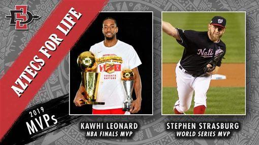 ▲雷納德(Kawhi Leonard)、史特拉斯堡(Stephen Strasburg)寫下同所大學同年拿下季後賽MVP的難得紀錄。(圖/翻攝自推特)