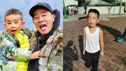 歌手陳小春和6歲的兒子Jasper萬聖節 翻攝微博