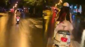 女騎士,丁字褲,走光,臀部,越南,司機 圖/翻攝ngamvn.net