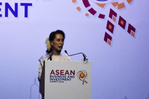 翁山蘇姬出席東協商務和投資論壇緬甸國務資政翁山蘇姬2日應邀出席東協商務和投資論壇(ASEAN Business and Investment Summit)並發表專題演講。中央社記者呂欣憓曼谷攝 108年11月2日