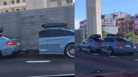 國道驚見BMW被切一半(圖/翻攝自爆笑公社臉書)