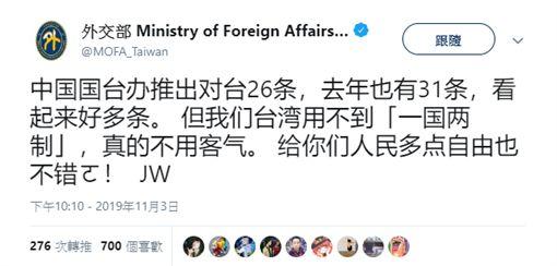 外交部長吳釗燮4日在推特上刻意以簡體中文發文大酸。(圖/翻攝外交部推特)