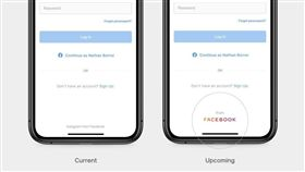 臉書公司4日公布新的公司商標(右下圈處),套用象徵「家族成員」的彩色字體。(圖/翻攝自臉書網頁newsroom.fb.com)