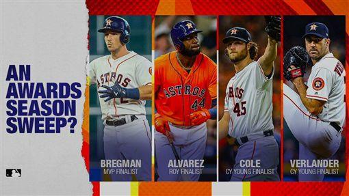 ▲太空人有機會一舉拿下MVP、賽揚獎、新人王3大獎。(圖/翻攝MLB推特)