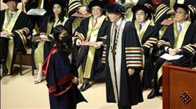 (圖/翻攝自微博)香港,理工大學,博士,畢典,校長,口罩