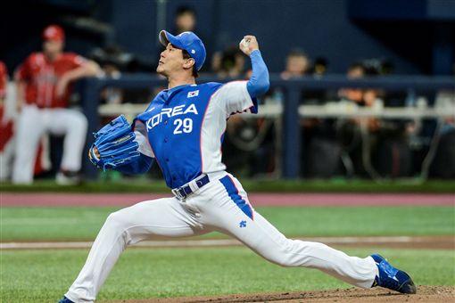 ▲金廣鉉在世界棒球12強賽面對加拿大先發。(圖/取自國際棒壘總會官網)
