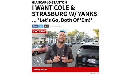 ▲史坦頓(Giancarlo Stanton)希望洋基同時簽下柯爾(Gerrit Cole)、史特拉斯堡(Stephen Strasburg) 。(圖/翻攝自TMZSports)