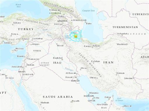 伊朗西北部(星號處)8日發生規模5.9地震。(圖取自美國地質研究所earthquake.usgs.gov)