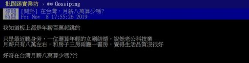 台灣,月薪,8萬,PTT 圖/翻攝自PTT