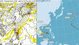 左圖:最新(8日20時)歐洲中期預報中心(ECMWF)模式,模擬下週四(14日)地面圖顯示,鋒面快速掠過、東北季風南下。菲律賓東方之熱帶海域,下週仍有擾動生成的跡象。(擷自tropical tidbits)  右圖:中央氣象局9日2時「路徑潛勢預測圖」顯示,「哈隆」在日本的東方遠海,已經減弱為輕颱;另外,中颱「娜克莉」偏西進行;預計週日、下週一(10、11日)侵襲越南中部。
