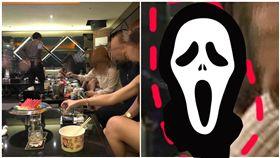 靈異公社,網友疑似再酒店拍下恐怖照片,一大一小,綠臉女和小孩子。(圖/翻攝自靈異公社)