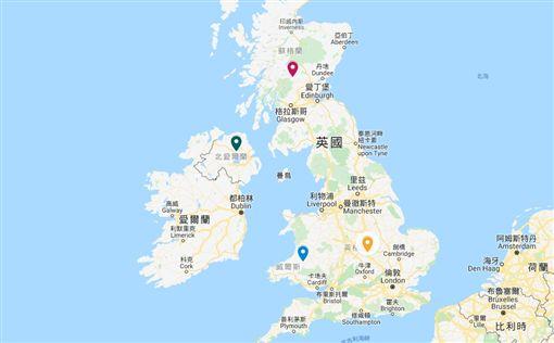 現今的聯合王國包含英格蘭、威爾斯、蘇格蘭及北愛爾蘭。(圖取自Google地圖google.com/maps)