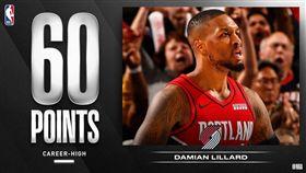 Damian Lillard攻下生涯新高60分。(圖/翻攝自NBA官方推特)