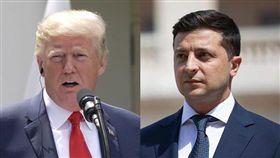 美國總統川普(左)9日表示,白宮可能將公布他4月與烏克蘭總統澤倫斯基之間的通話內容。(左圖為中央社檔案照片,右圖取自facebook.com/zelenskiy95)