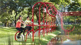 國際景觀建築師協會亞太區分區8日在菲律賓舉行景觀大賞頒獎,台北市大安森林公園以活水飛輪意象,獲社區營造類傑出獎。(台北市公園處提供)中央社記者梁珮綺傳真 108年11月10日