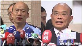 又撿到槍!蘇貞昌提醒韓國瑜:你選的不是中華民國地區總統 組合圖,新聞台資料照