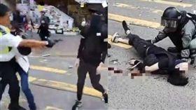 香港警察西灣河開實彈真槍 民眾中彈倒地(圖/翻攝自立場、進擊新聞)