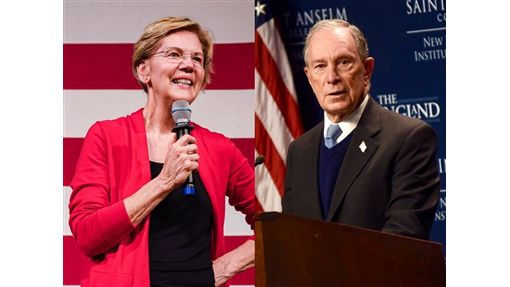 紐約市前市長彭博(右)宣布參選的前一週,民主黨總統參選人聯邦參議員華倫(左)才提議,將她提出對美國最富有階層課徵富豪稅的計畫明顯擴大。(左圖取自facebook.com/ElizabethWarren、右圖取自facebook.com/mikebloomberg)