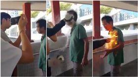 香港街頭暴力升級!馬鞍山男談政治起口角 遭潑液秒燒成火球(圖/翻攝自推特@jackhuang0714)