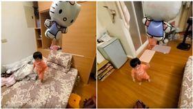 奶嘴狂弄丟!人夫出奇招…自製「氣球GPS」:不怕找不到(圖/翻攝自爆怨公社)