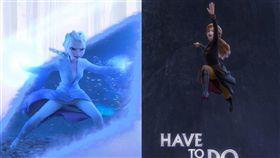 「冰雪奇緣2」即將上映,兩位女主角女王艾莎(左)、公主安娜(右)穿上褲裝,被視為迪士尼公司「順應時代潮流」的作法。(圖/翻攝自facebook.com/DisneyFrozen)