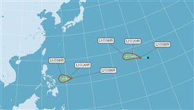 中央氣象局觀測,目前海面上有兩個熱帶性低氣壓,都可能發展為颱風。(圖/翻攝自中央氣象局網頁cwb.gov.tw)