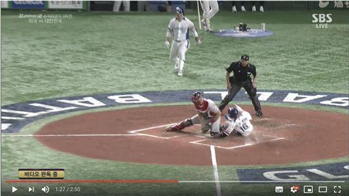 ▲11日12強韓、美戰,韓國隊3局上跑壘爭議判決。(圖/翻攝自SBS Sports YouTube)