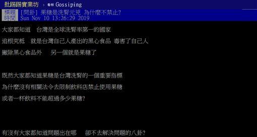 台灣,洗腎,果糖,食安,健保,PTT 圖/翻攝自PTT