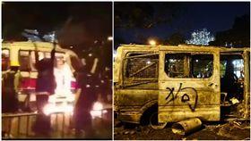 香港抗爭5個月,燒警車首例發生,11/12晚間燒警車。(圖/翻攝自發聲社臉書)