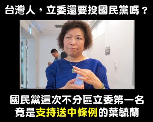 國民黨,不分區,葉毓蘭,吳斯懷圖/翻攝自打馬悍將粉絲團