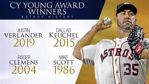 ▲韋蘭德(Justin Verlander)拿下美聯賽揚獎,太空人隊史第4人。(圖/翻攝自MLB Stats推特)