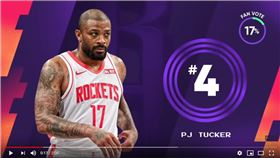 ▲火箭塔克(P.J. Tucker)上籃放槍還跌出場,糗登《俠客真烏龍》。(圖/翻攝自NBA on TNT)