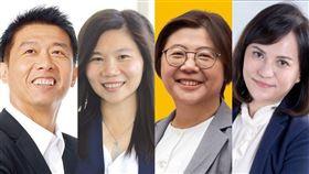 民進黨高雄市立委許智傑(左)2020立委選舉尋求連任,在「韓流」壓力下,不只對手國民黨市議員李雅靜(左2),還有時力推出陳惠敏(左3)、親民黨派秦詩雁,絕對是場硬戰。(圖為各參選人提供)