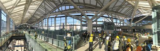 JR東日本公司16日邀媒體參觀山手線新站「高輪Gateway」,站體牆面全數採用玻璃帷幕及類似日式拉門構造的天花板,整個空間可以感受到自然光與風。(共同社提供)