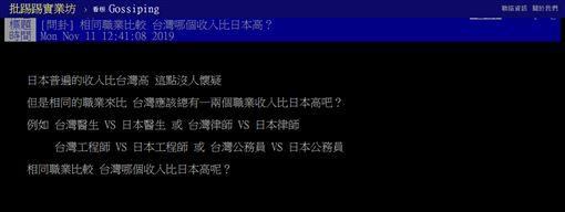 日本,台灣,職業,收入,工程師,半導體,PTT 圖/翻攝自PTT