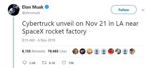 ▲特斯拉預告電動皮卡登場日期(圖/翻攝Elon Musk推特)
