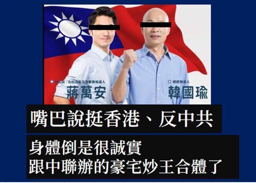 蔣萬安,韓國瑜,香港,韓粉,港人反抗,撐香港圖/翻攝自蔣萬安臉書、抓到了!這梗很綠粉專