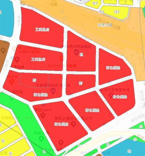 內湖五期違規區。(圖/取自台北市土地使用分區圖)