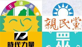 親民黨,國民黨,民進黨,時代力量,民眾黨,綠黨,組合圖
