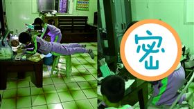 兒子,寫功課,媽媽,搞怪,不專心,椅子