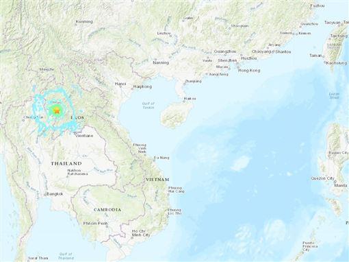 美國地質調查所,泰寮,6.1地震,震源深度,10公里(圖/翻攝自USGS網頁)