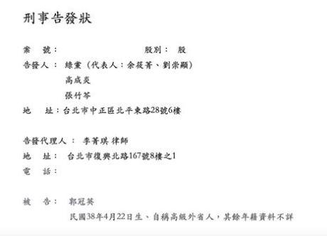 ▲綠黨22日前往台北地檢署告發郭冠英涉犯「國安法」(圖/翻攝綠黨臉書)