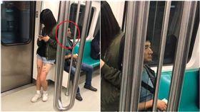 捷運巧遇「野生李組長」!網見隔壁妹子大腿驚:案情不單純(圖/翻攝自爆笑公社)