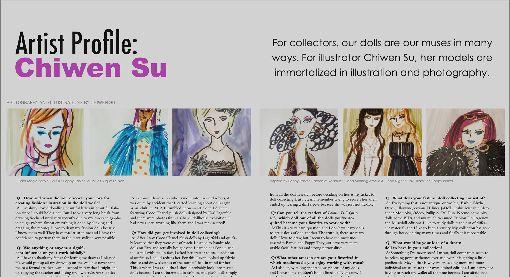 台灣設計師人偶畫作登上時尚雜誌旅居美國的平面設計師蘇琦雯繪出早期芭比和吳季剛設計的「時尚王朝」 (Fashion Royalty) 等系列人偶畫作,被刊登在「時尚娃娃」雜誌(Fashion Doll Quarterly,FDQ)的「藝術家人物」專欄而受到關注。(蘇琦雯提供)中央社記者周世惠舊金山傳真  108年11月24日