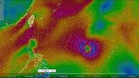熱帶性低氣壓恐發展成第28號颱風「北冕」(圖/氣象局風場預報圖)