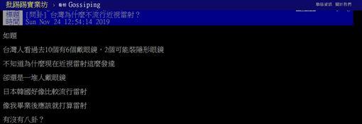 台灣,近視,雷射,戴眼鏡,後遺症,隱憂,PTT 圖/翻攝自PTT