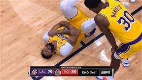 NBA/肘傷虛驚!一眉領軍暴打鵜鶘 NBA,洛杉磯湖人,Anthony Davis,紐奧良鵜鶘 翻攝自推特