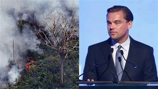 巴西總統波索納洛29日聲稱,國際巨星李奧納多狄卡皮歐(右)的捐款助長引發國際社會關注的亞馬遜雨林火災(左)。(圖/左圖法新社檔案照片,右圖取自facebook.com/LeonardoDiCaprio)
