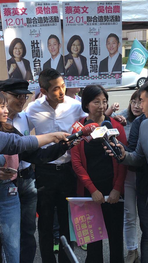 民進黨台北市第三選區立委候選人吳怡農1日上午在建國北路舉行造勢活動。(圖/吳怡農競選辦公室提供)